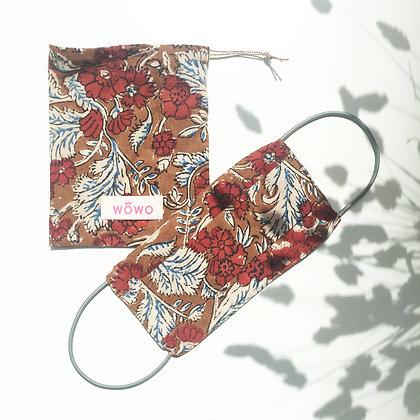 Masque Block print Imprimé Fleurs Rouille avec pochette