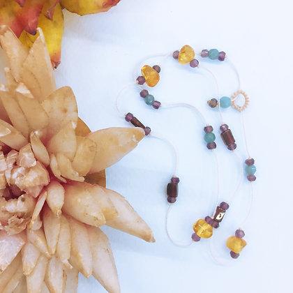 Collier Kashmiri Pierres semi-précieuses ambre