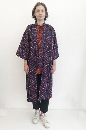 Manteau kimono  imprimé Triangle marine et rouge