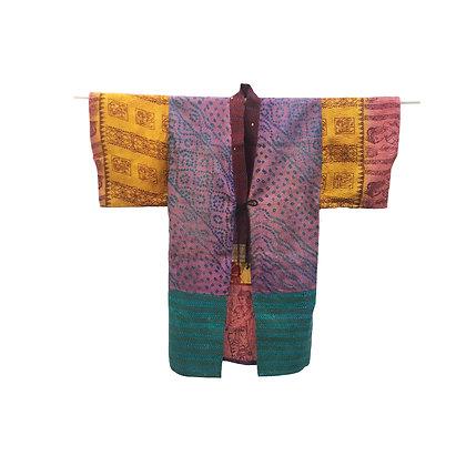 Manteau kimono  Kantha de soie Hippie flower