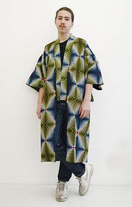 Manteau kimono imprimé Diamant vert bleu et blanc