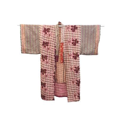 Manteau kimono Kantha de soie rose