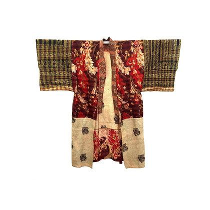 Manteau kimono  Kantha de soie rouge
