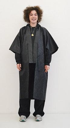 Manteau kimono Bazin noir Swirl