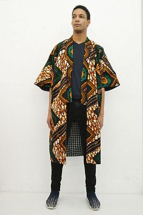 Manteau kimono  imprimé d'un motif médaillon