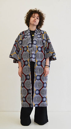 Manteau kimono imprimé Globe