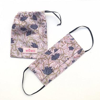 Masque Imprimé Blockprint Fleurs Parme avec pochette