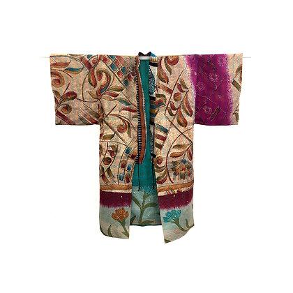 Manteau kimono  Kantha de soie beige