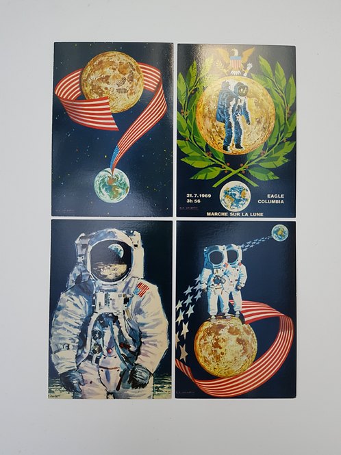 """Série de 4 cartes postales 1969 """"Marche sur la lune"""""""