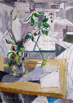Mirabelle with landscape, 2013, oil/canvas, 70x50 cm