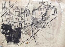 Ships in Galati harbor, 1968, ink, watercolor_ paper, 35X49 cm