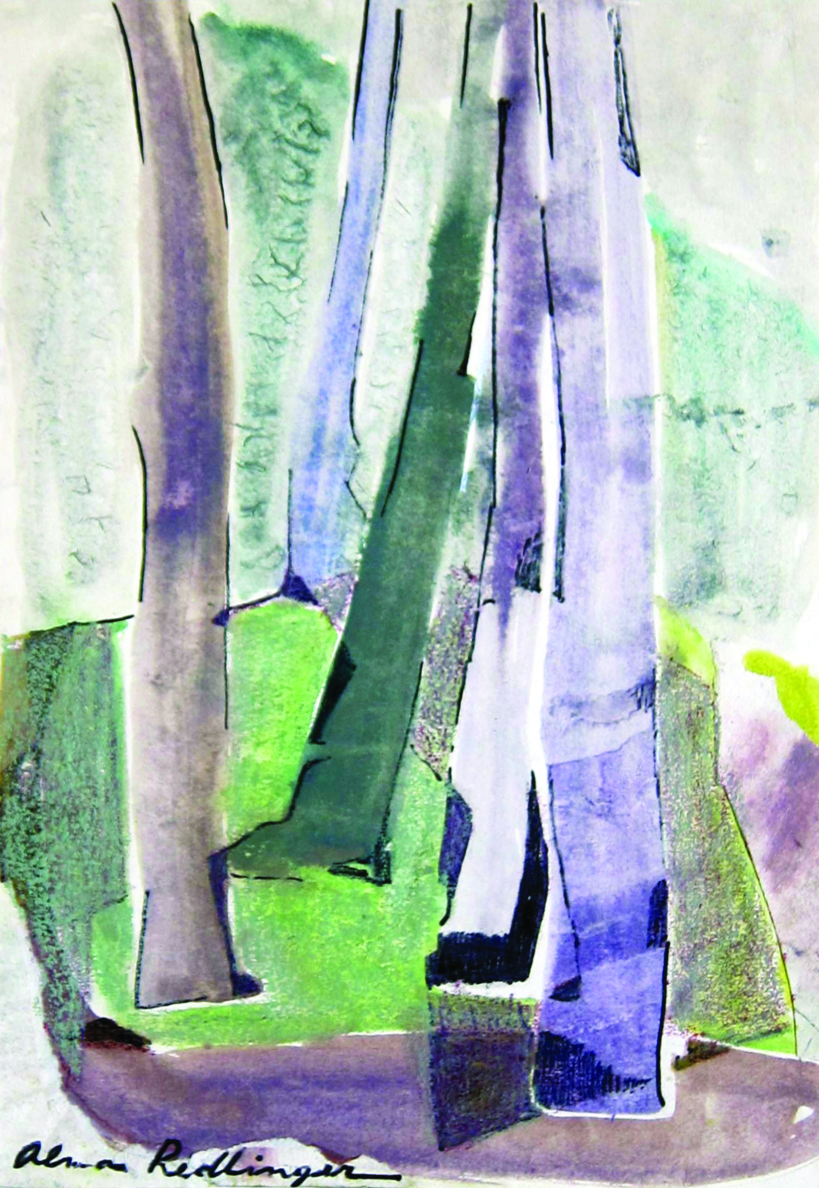 Violet trees, 1983, watercolor, 39X27 cm