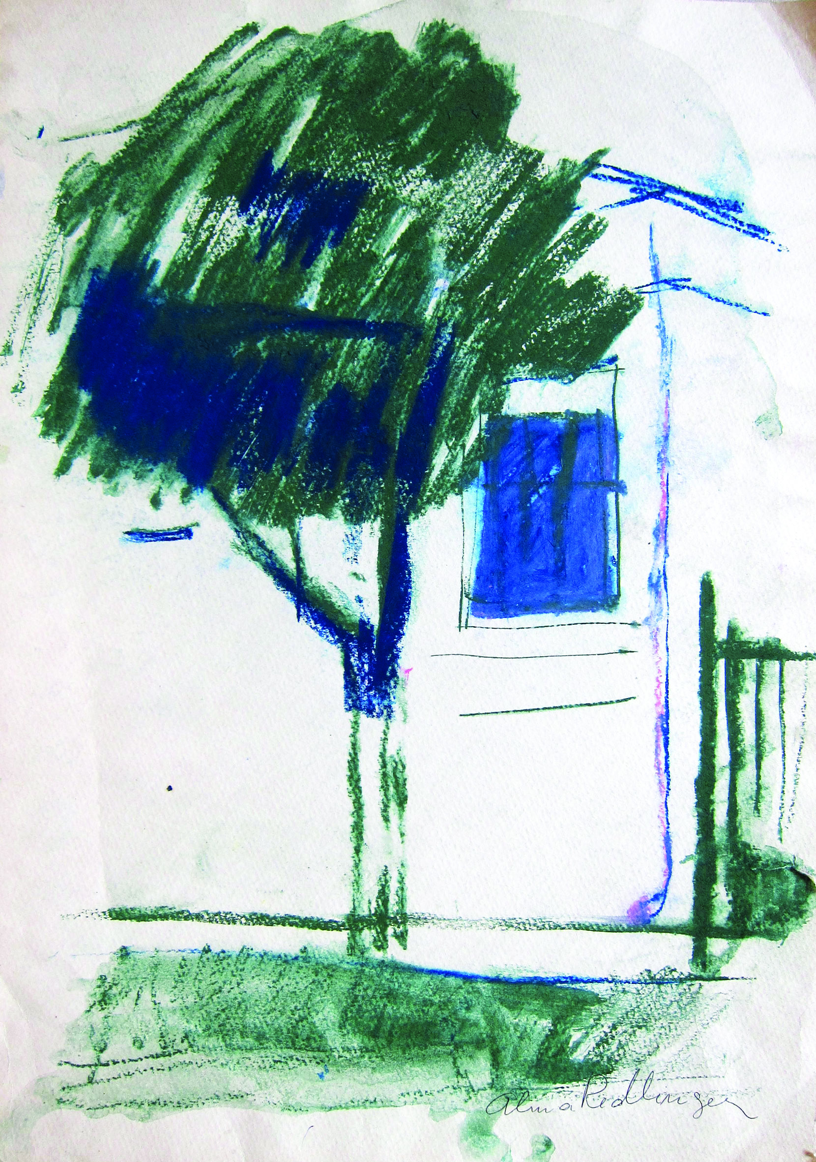 Blue tree, 2012, watercolor, 42X29 cm