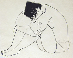 Nude curled up, ink/tracing paper, 26X32 cm
