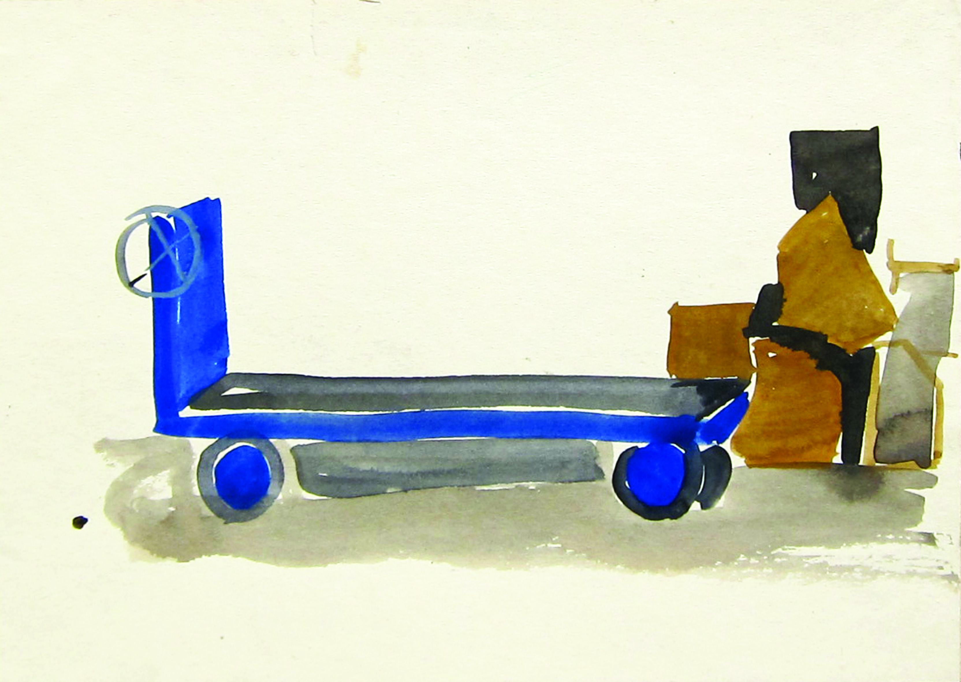 Blue cart, 1970, watercolor, 18X25 cm