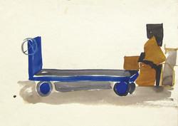 Blue cart, 1970, watercolor, 18X25 cm