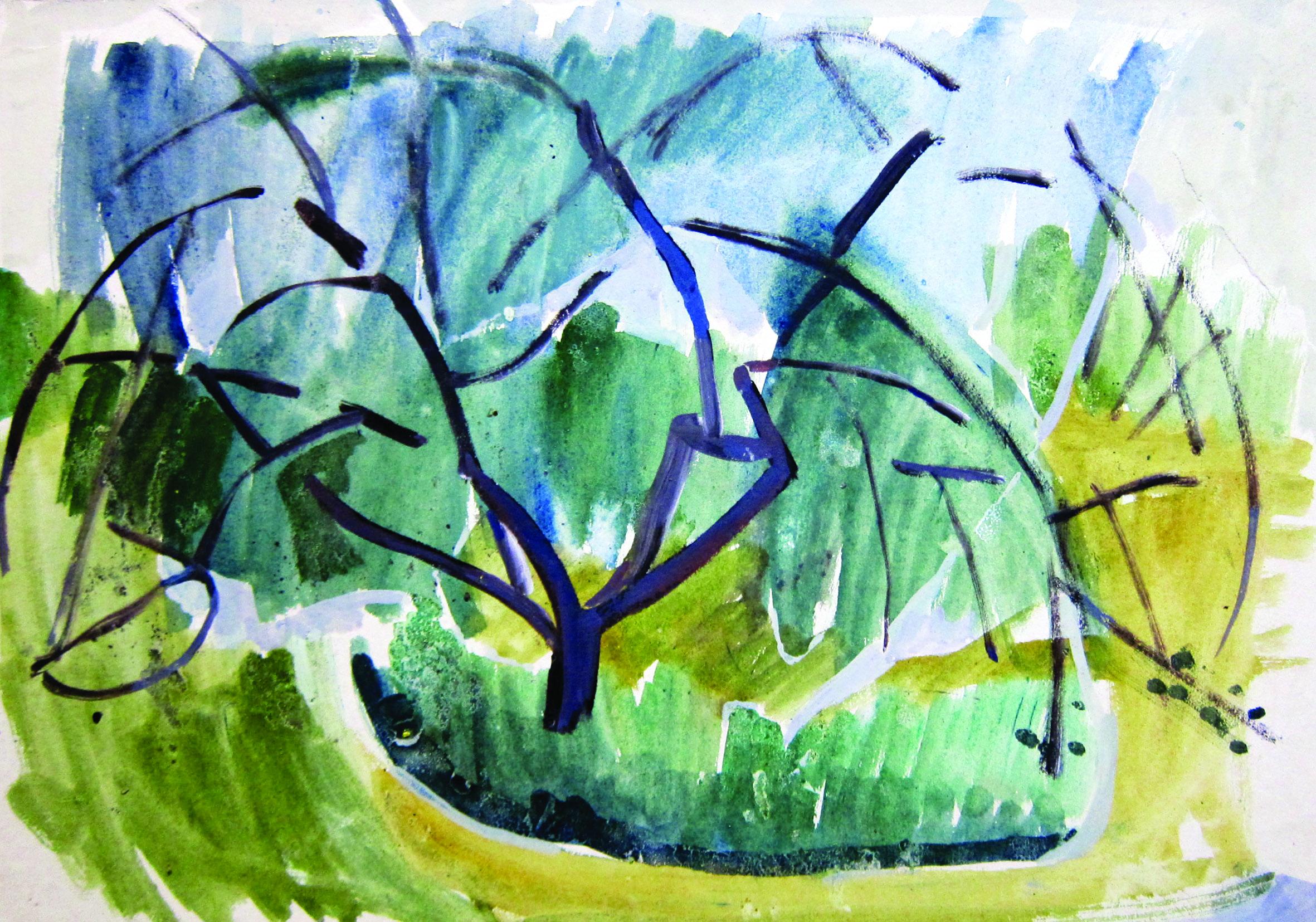 The noizy tree, 1965, watercolor, 28X40 cm