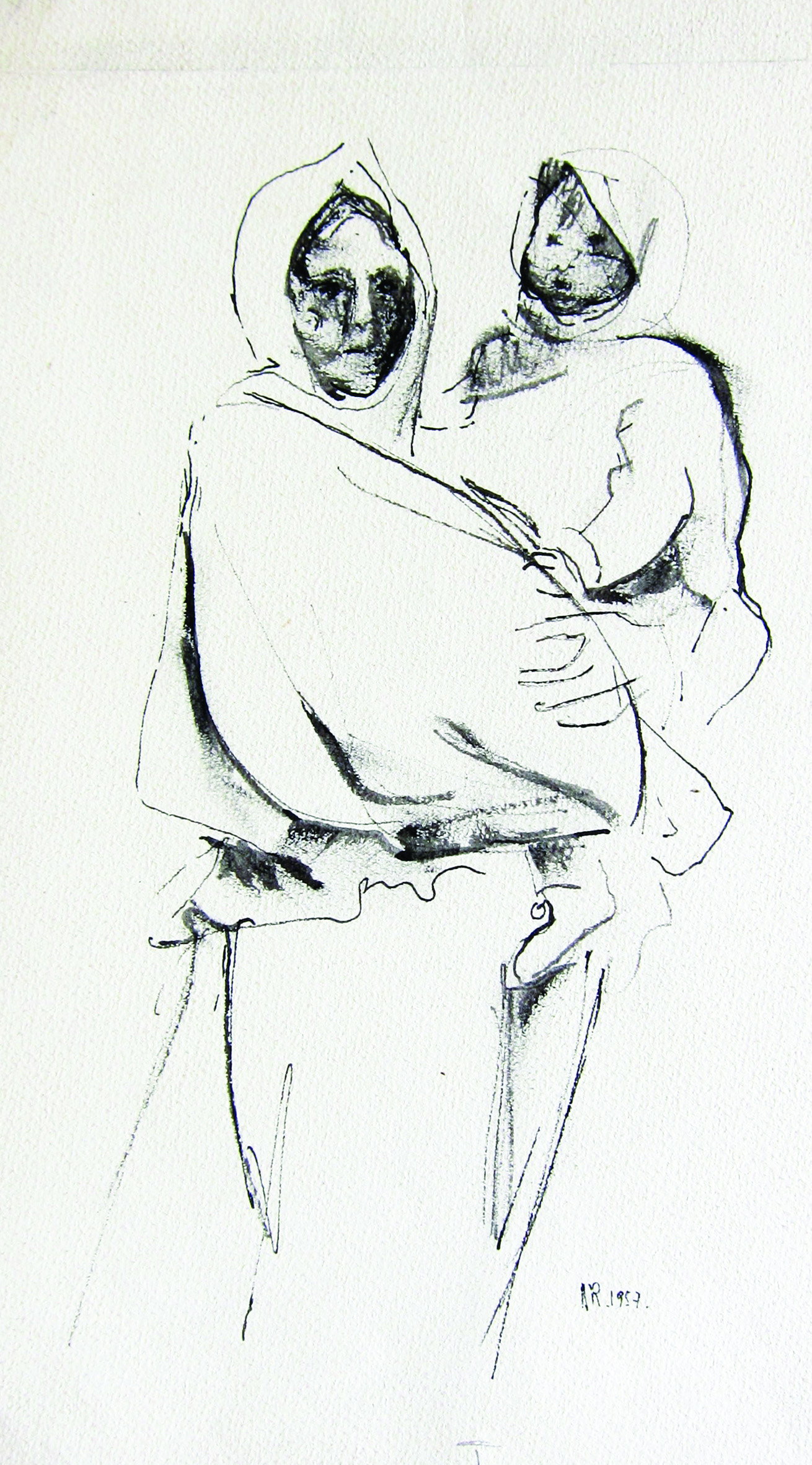 Motherhood, 1957, ink_ paper, 22X15 cm