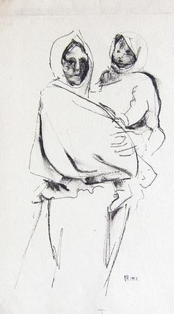 Motherhood, 1957, ink_ paper, 22X15 cm