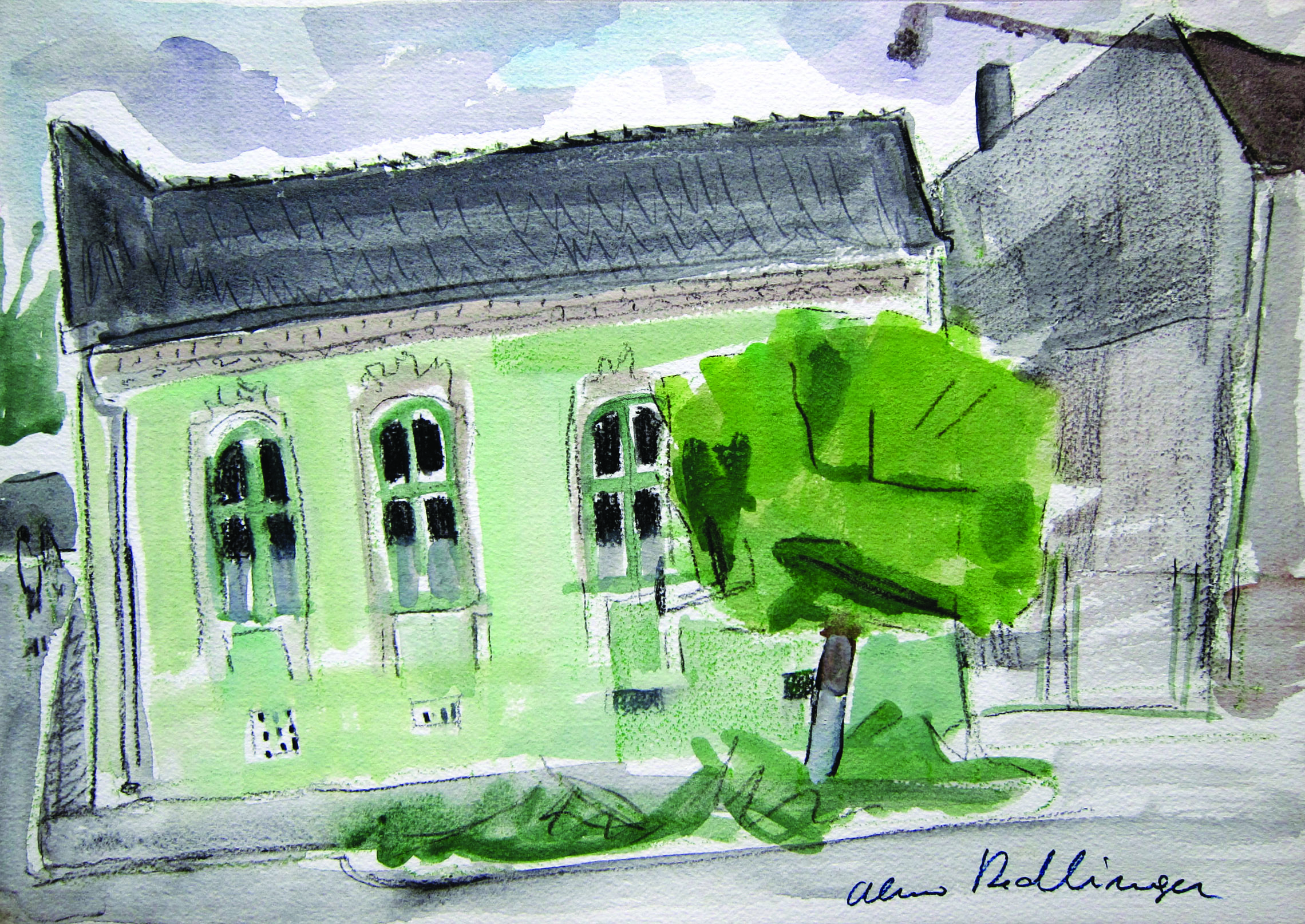 The green house, Eforie sud, 2011, watercolor, 29X42 cm