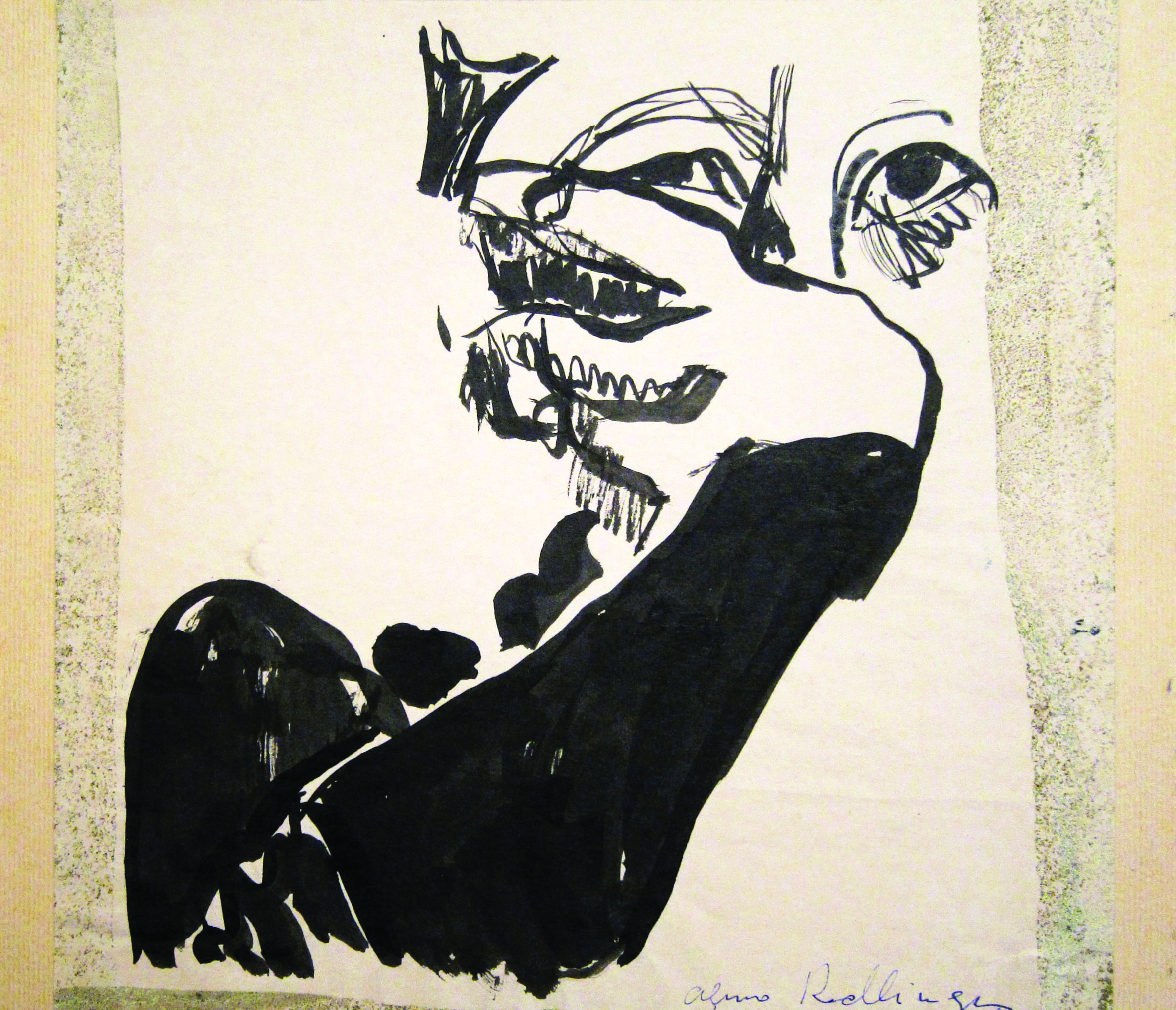 Self-portrait, 1978, ink, 20X20 cm