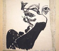 Self-portrait, 1978, ink, 20X20 cm