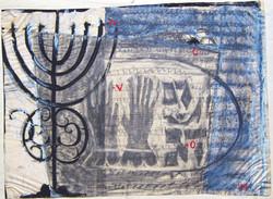 In memoriam, menorah, 1974, mixed media, 36X49 cm
