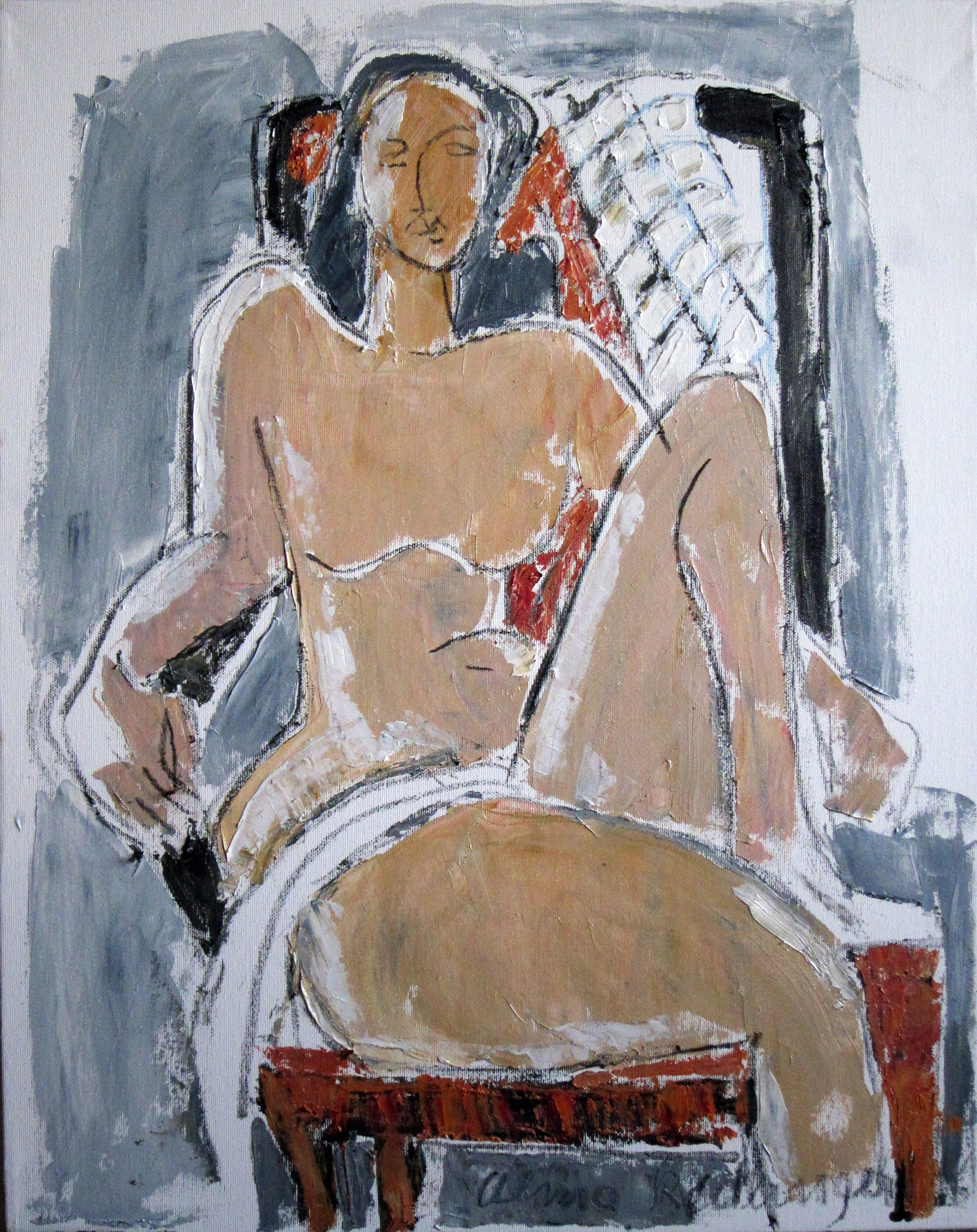 Nude on armchair, 2015, oil/canvas, 60x50 cm