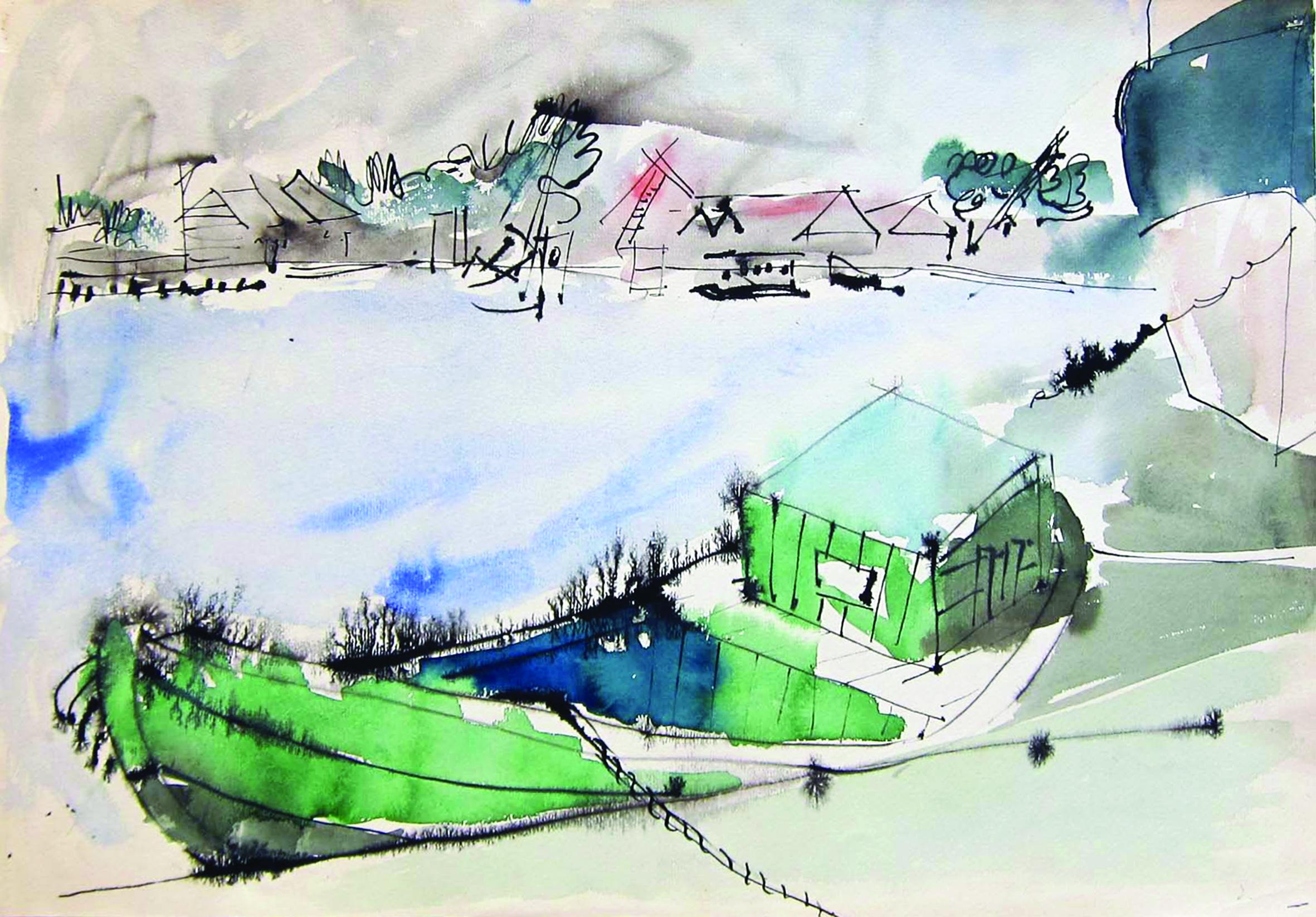 The green boat, landscape, 1973, watercolor, 34X49 cm
