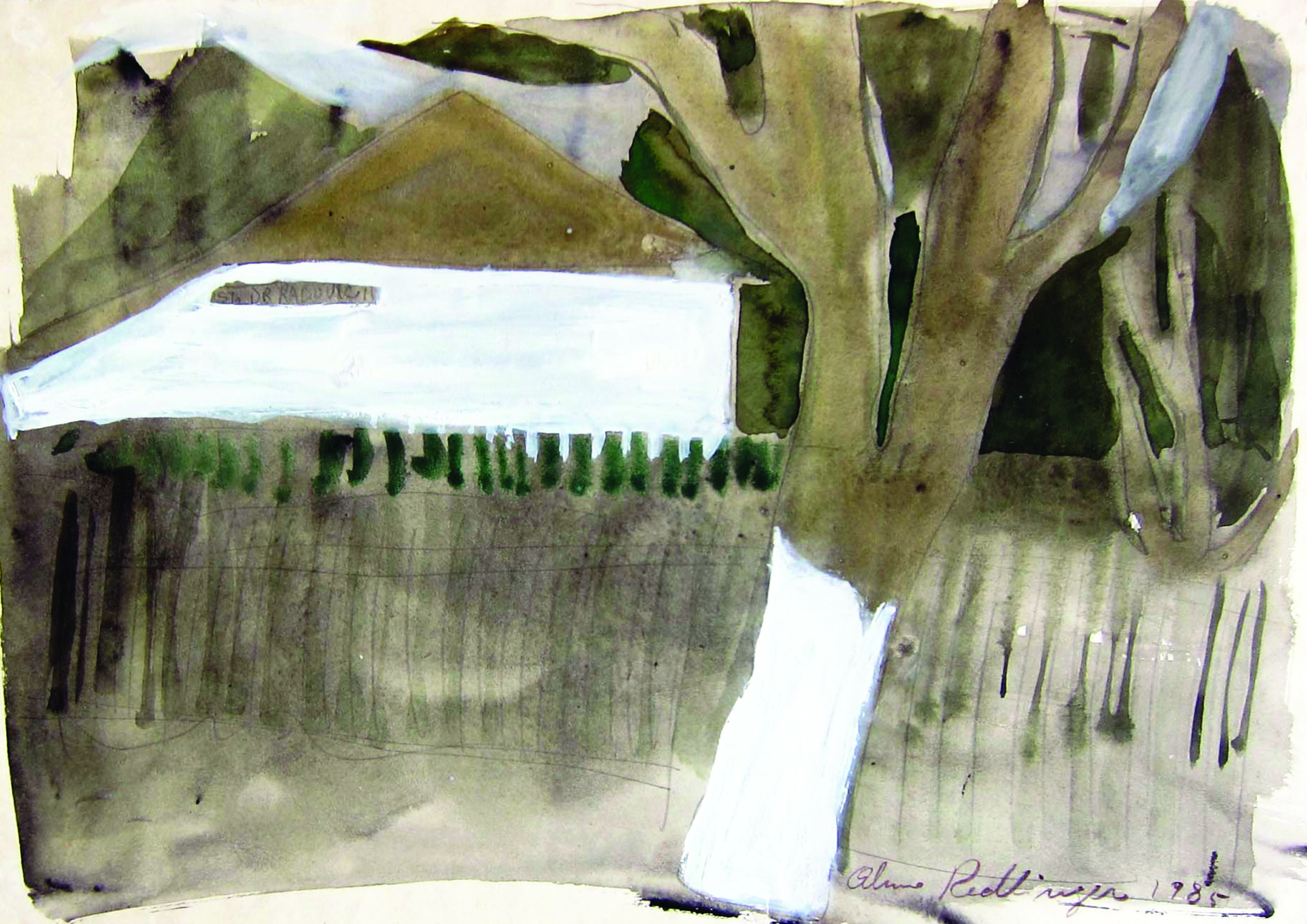The tree near the fence, 1985, watercolor, 29X42 cm