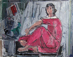 Model in the studio, woman in red, 2012, oil/canvas, 55x70 cm