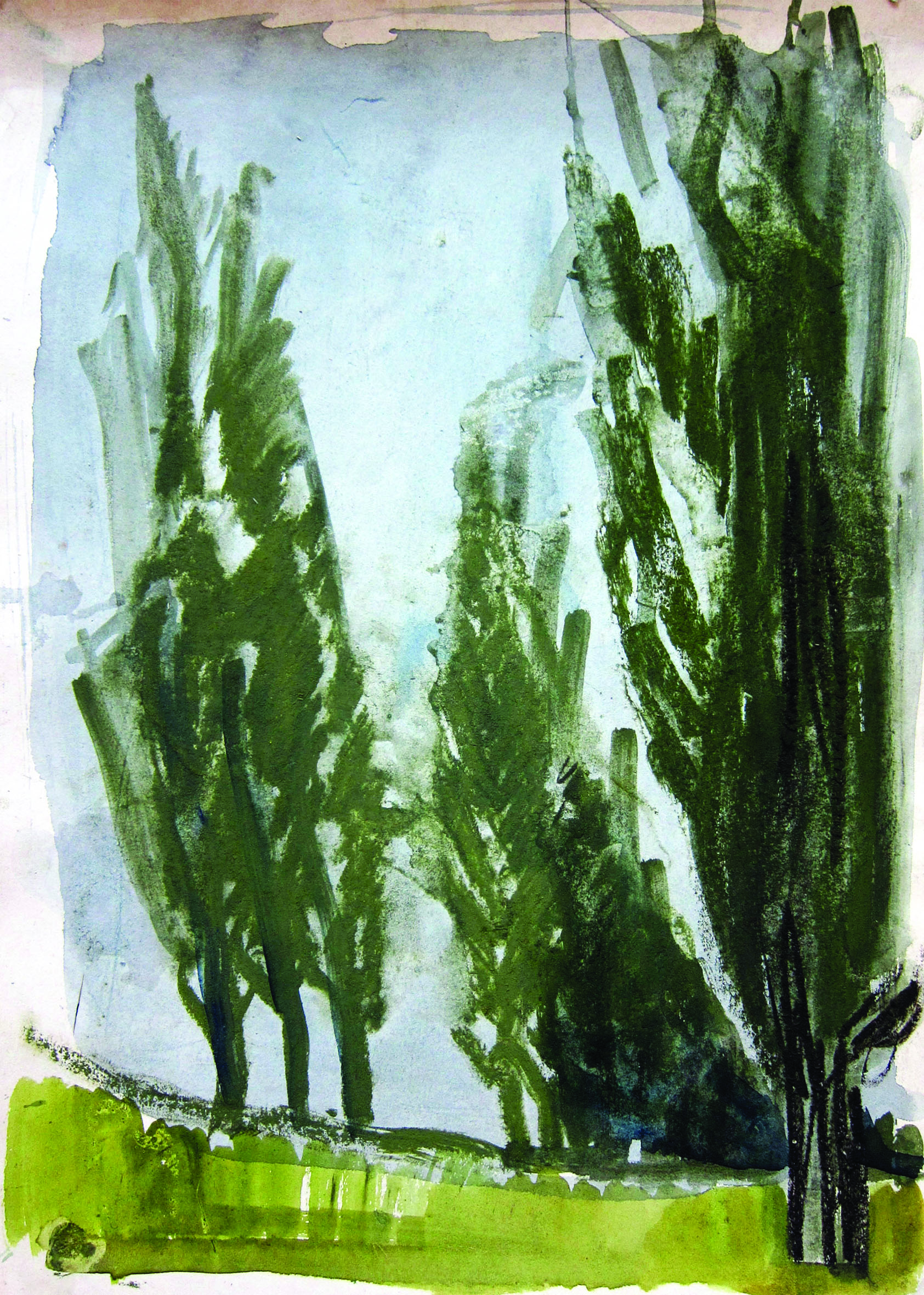 Along the poplars, 1981, watercolor, 42X29 cm