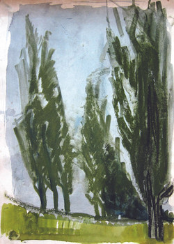 Along the poplars, 1981, watercolor, 42X29 cm