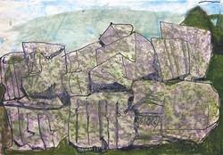 Rocks and sea, 1984, watercolor, 29X42 cm