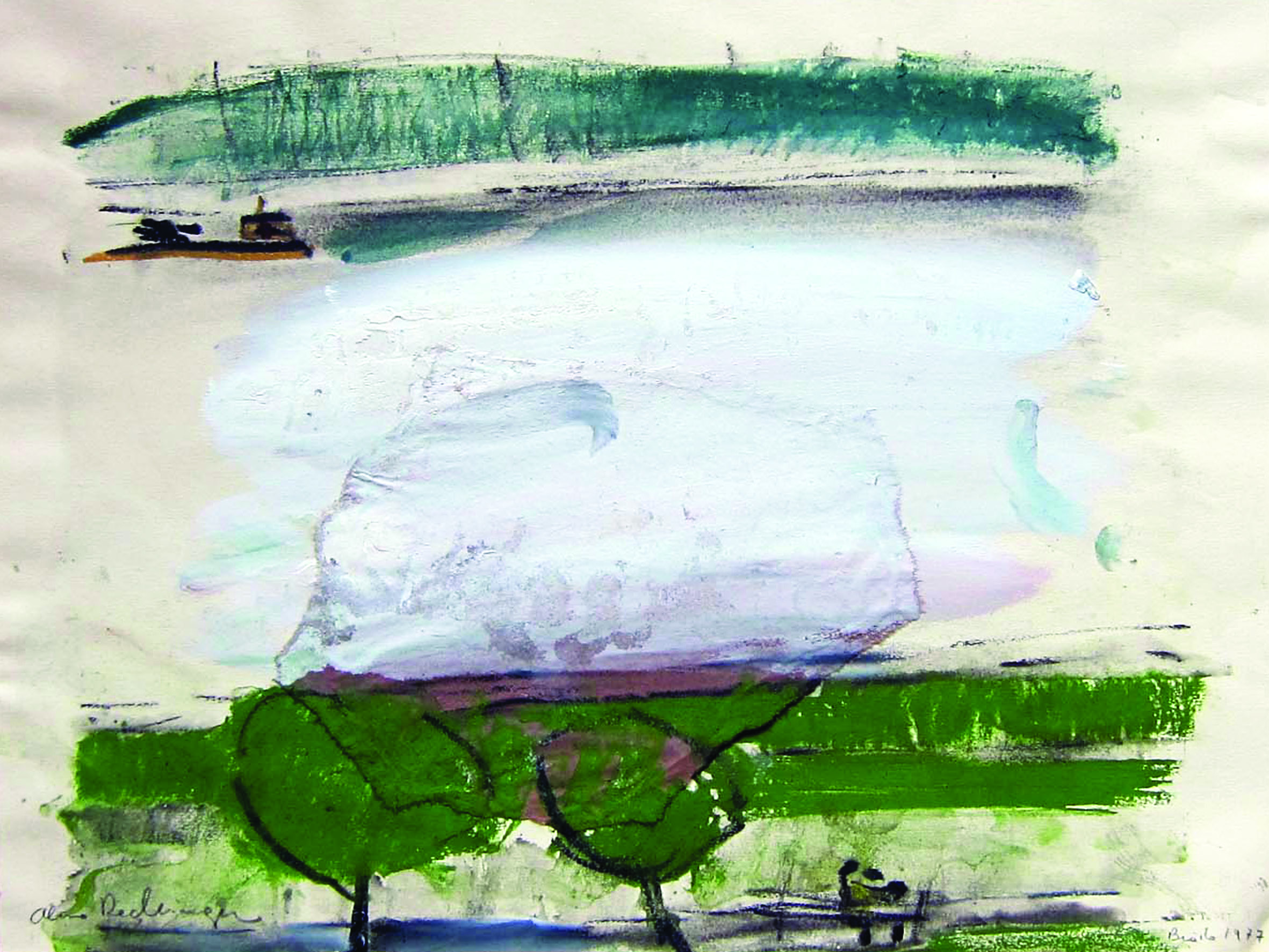 Landscape with two trees in Braila, 1977, 30X40 cm