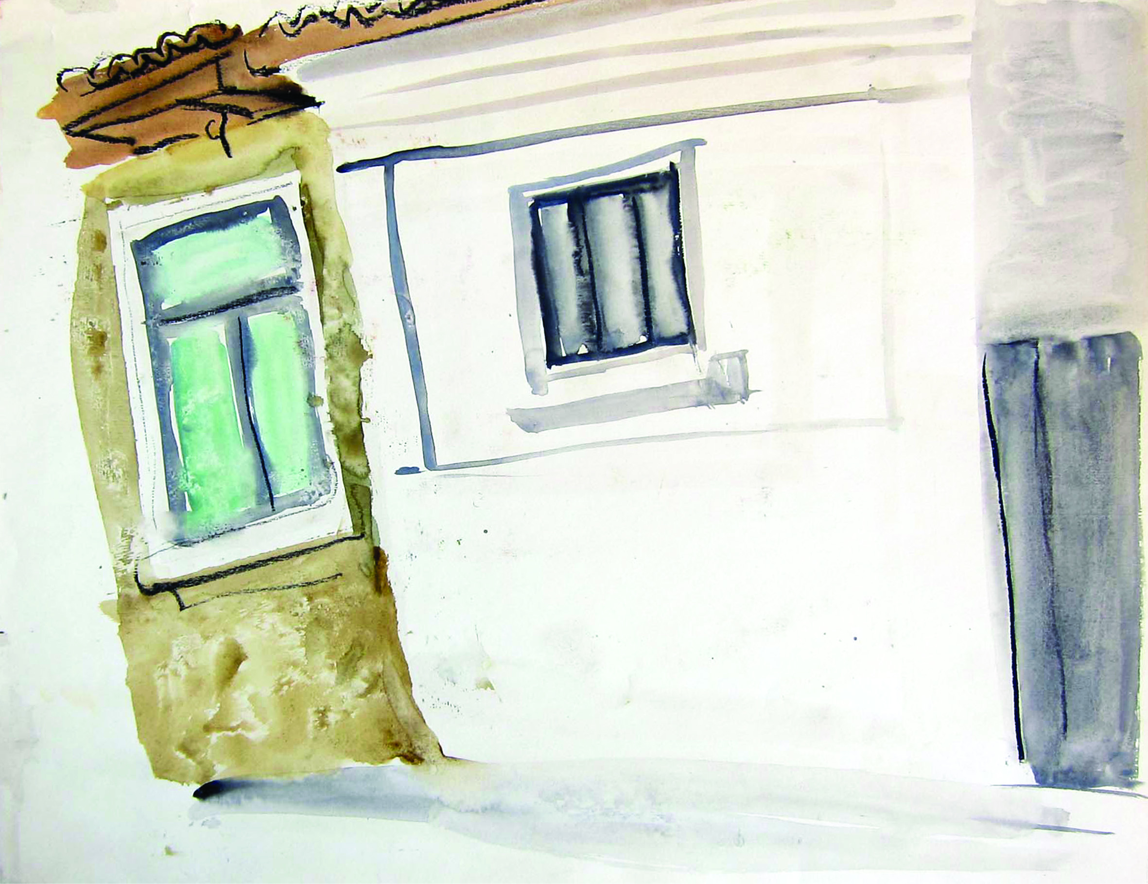 A house with pair, 1981, watercolor, 32X42 cm
