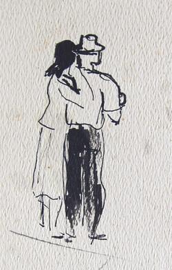 Spectators, 1957, ink/paper, 17X8 cm