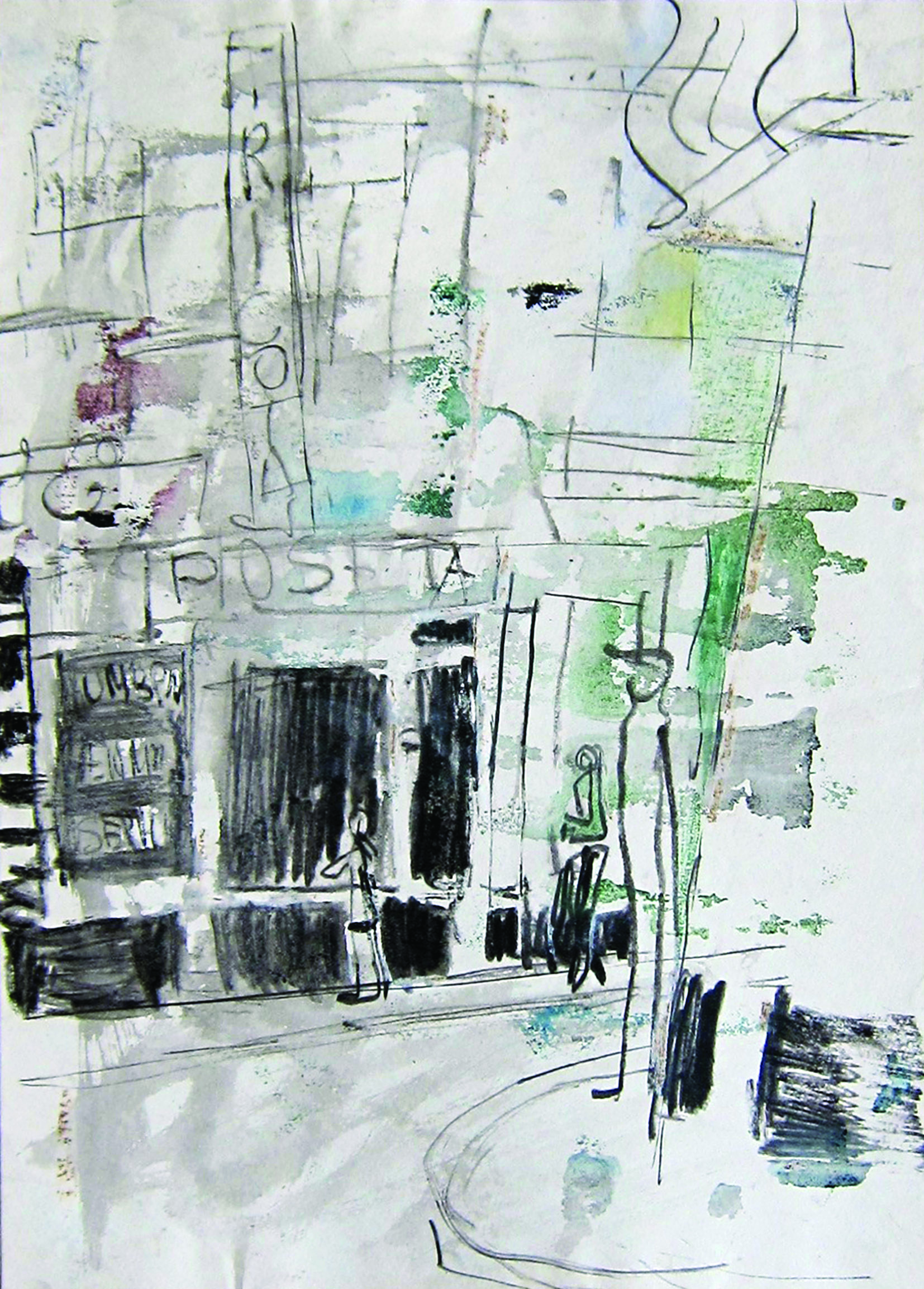 Poseta shop, 1980, watercolor, 42X30 cm