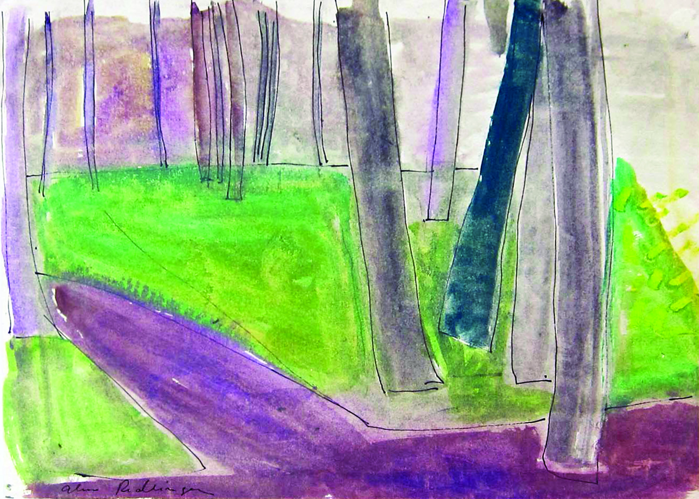 The Carol park, trees, 1983, watercolor, 29X45 cm