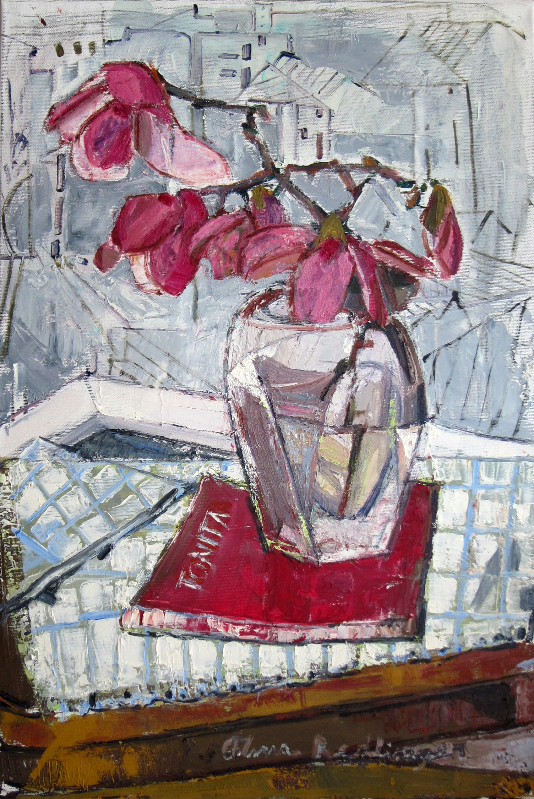 Magnolias and the city seen from above, 2012, oil/canvas, 60x40 cm