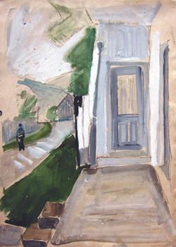 Porch towards the hills, 1980, watercolor, 40X29 cm