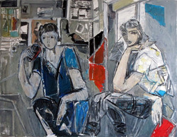 Friends drinking coffee, 2014, oil/canvas, 70x90 cm
