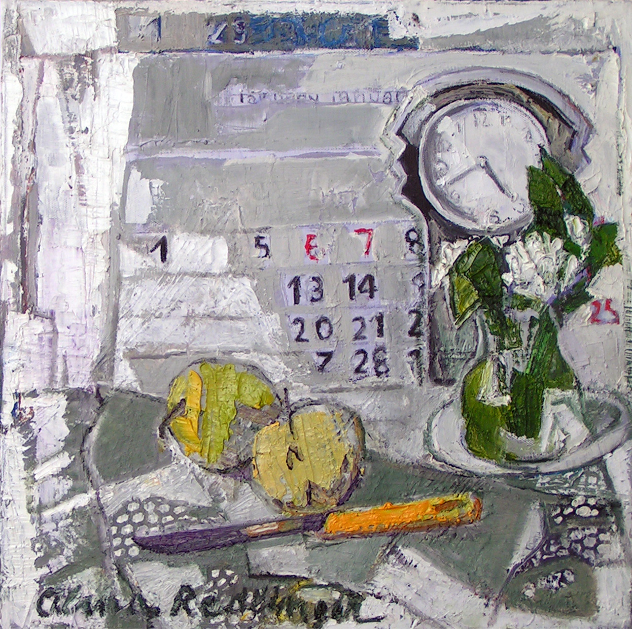 Snowdrops and clock, 2009, oil/canvas, 45x30 cm