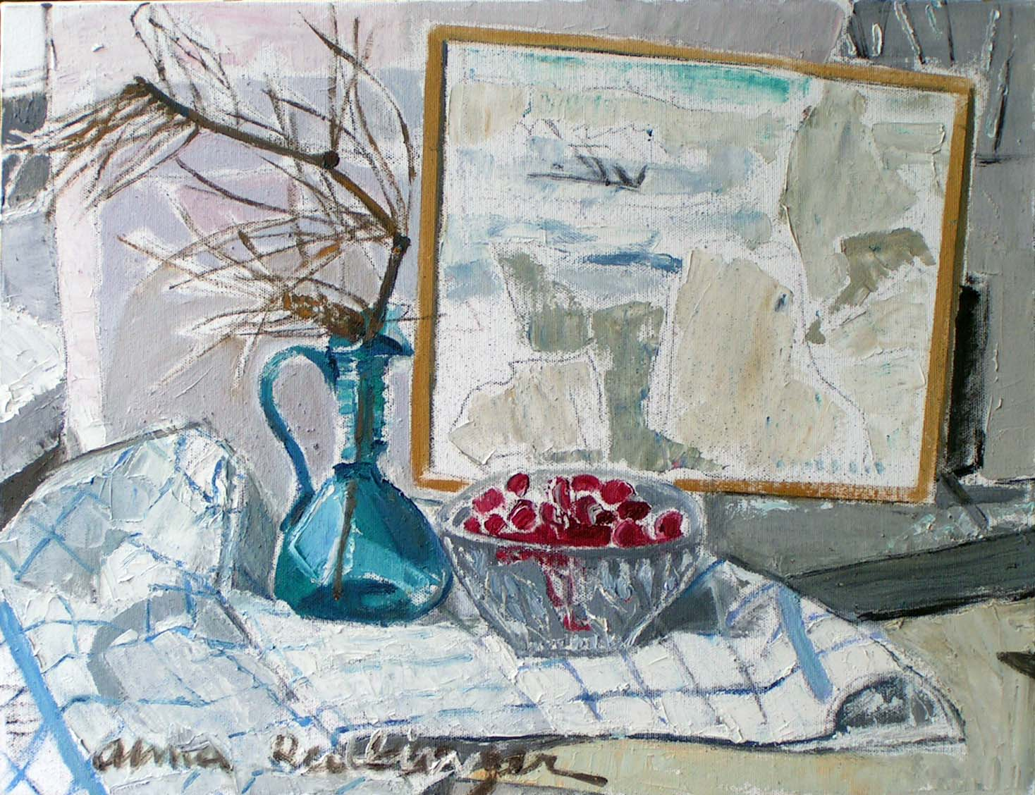 Cheries with landscape, 2008, oil_canvas, 40x50 cm