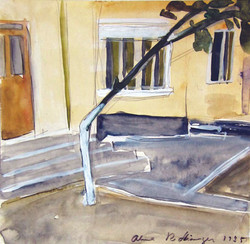 The tree on the street, Eforie Nord, 1985, watercolor, 29X42 cm