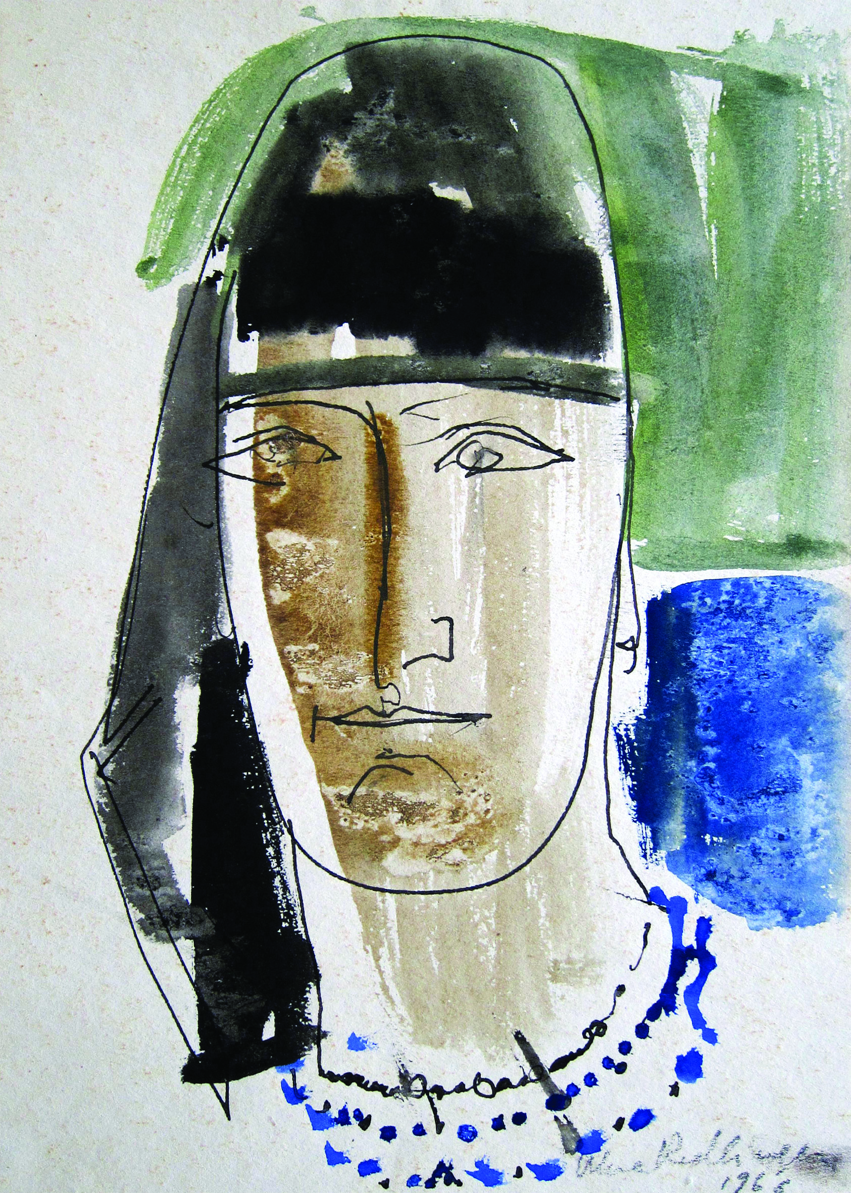 Woman with headscarf, 1966, watercolor, 29X20 cm