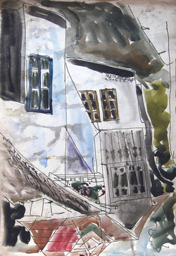 A house with personality, 1979, watercolor, 29X21 cm