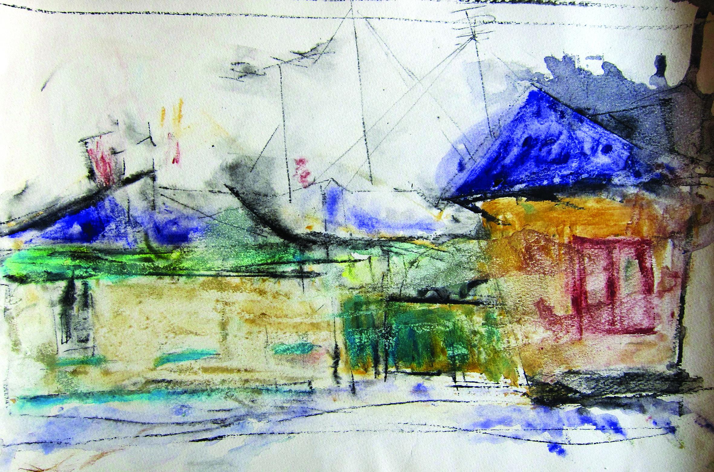 Rain, 1965, watercolor, 29X29 cm