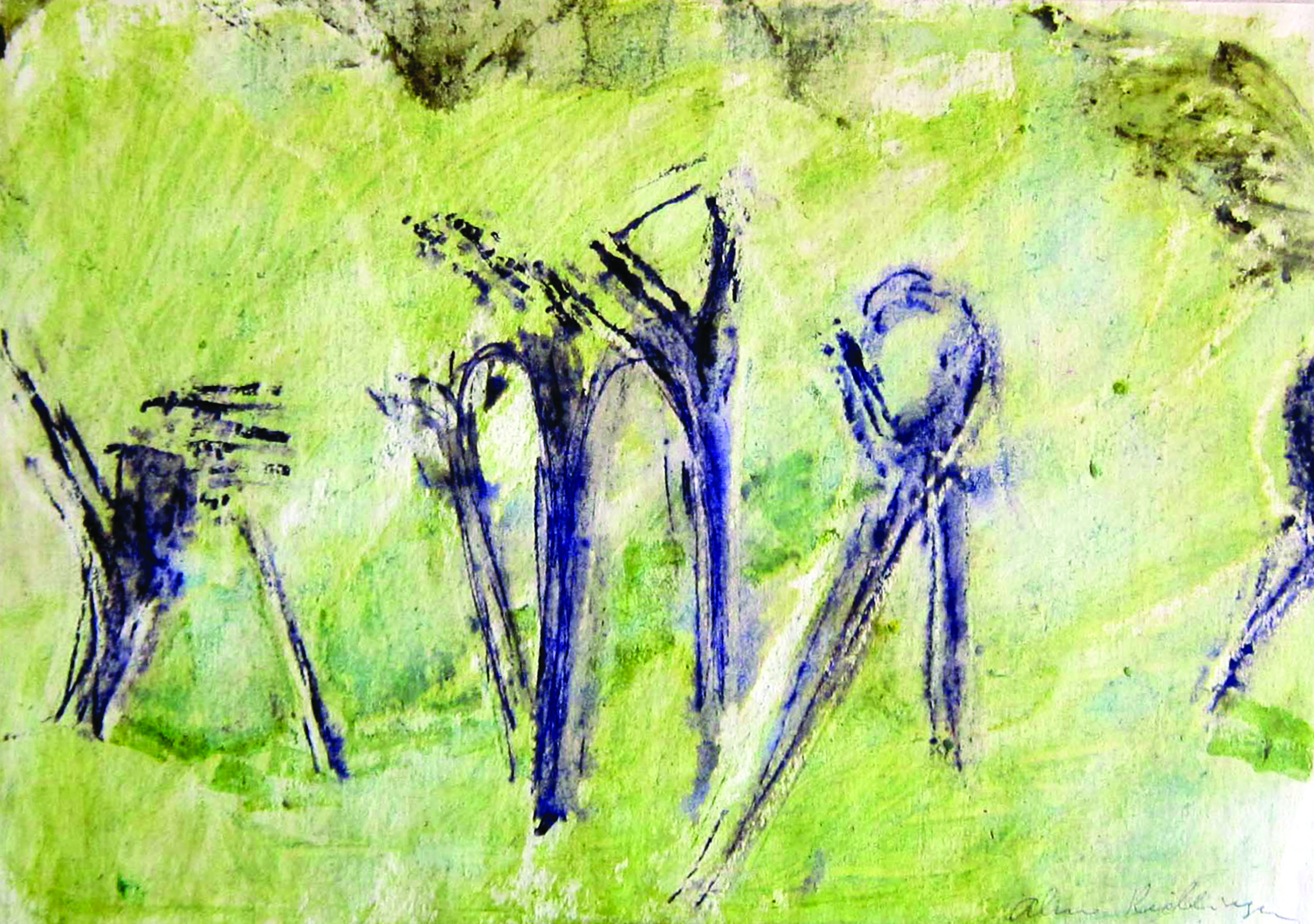 Signs on green background, 1981, watercolor, 33X42 cm