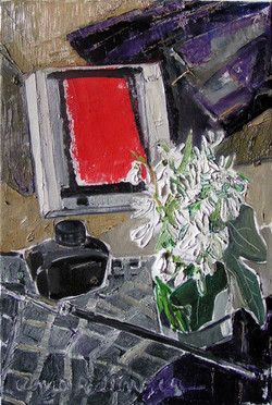 Snowdrops with Klee, 2009, oil/canvas, 45x30 cm